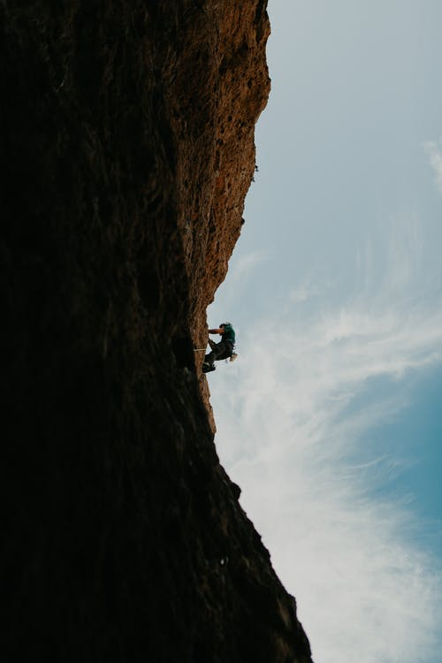 Man in Black Jacket Climbing on Brown Rock Mountain