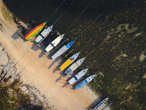 Lined Up Boats on Seashore