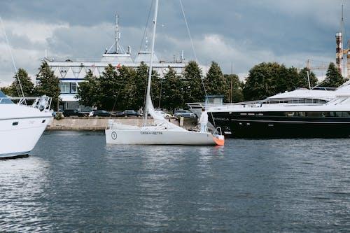 Weißes Segelboot Auf See