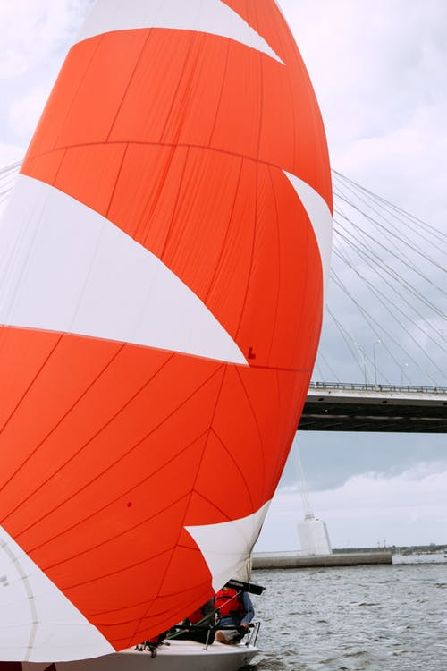 Orange and White Hot Air Balloon