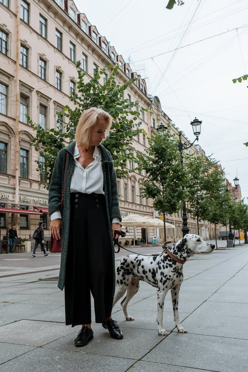 Woman in Black Dress Standing Beside Dalmatian Dog