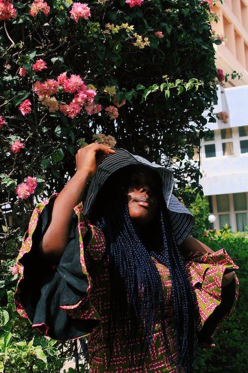 Gorgeous black woman in garden