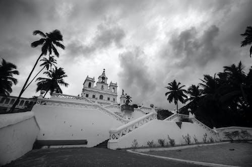 Immagine gratuita di bianco e nero, chiesa, goa, india