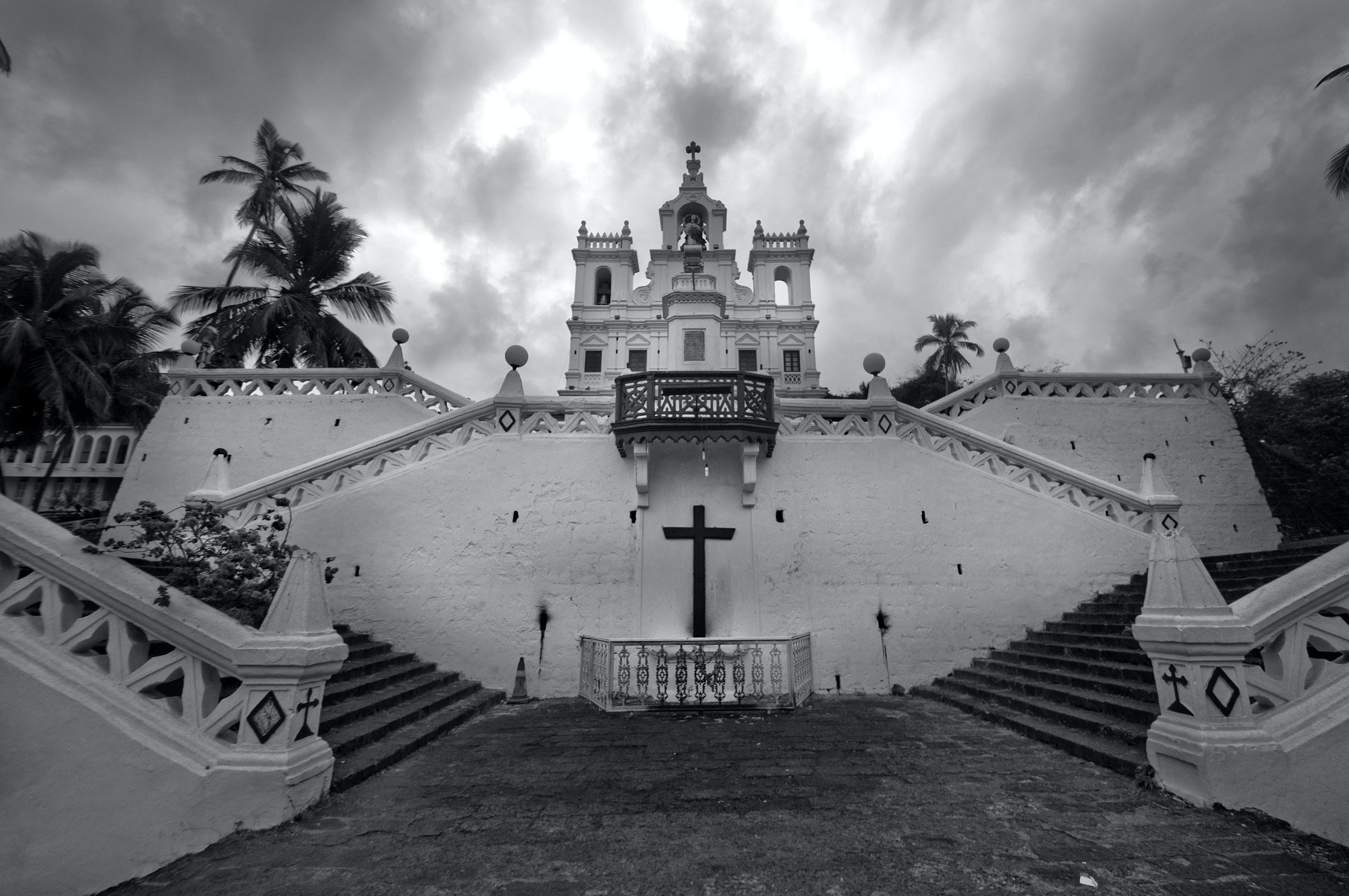 Free stock photo of black and white, church, goa, india