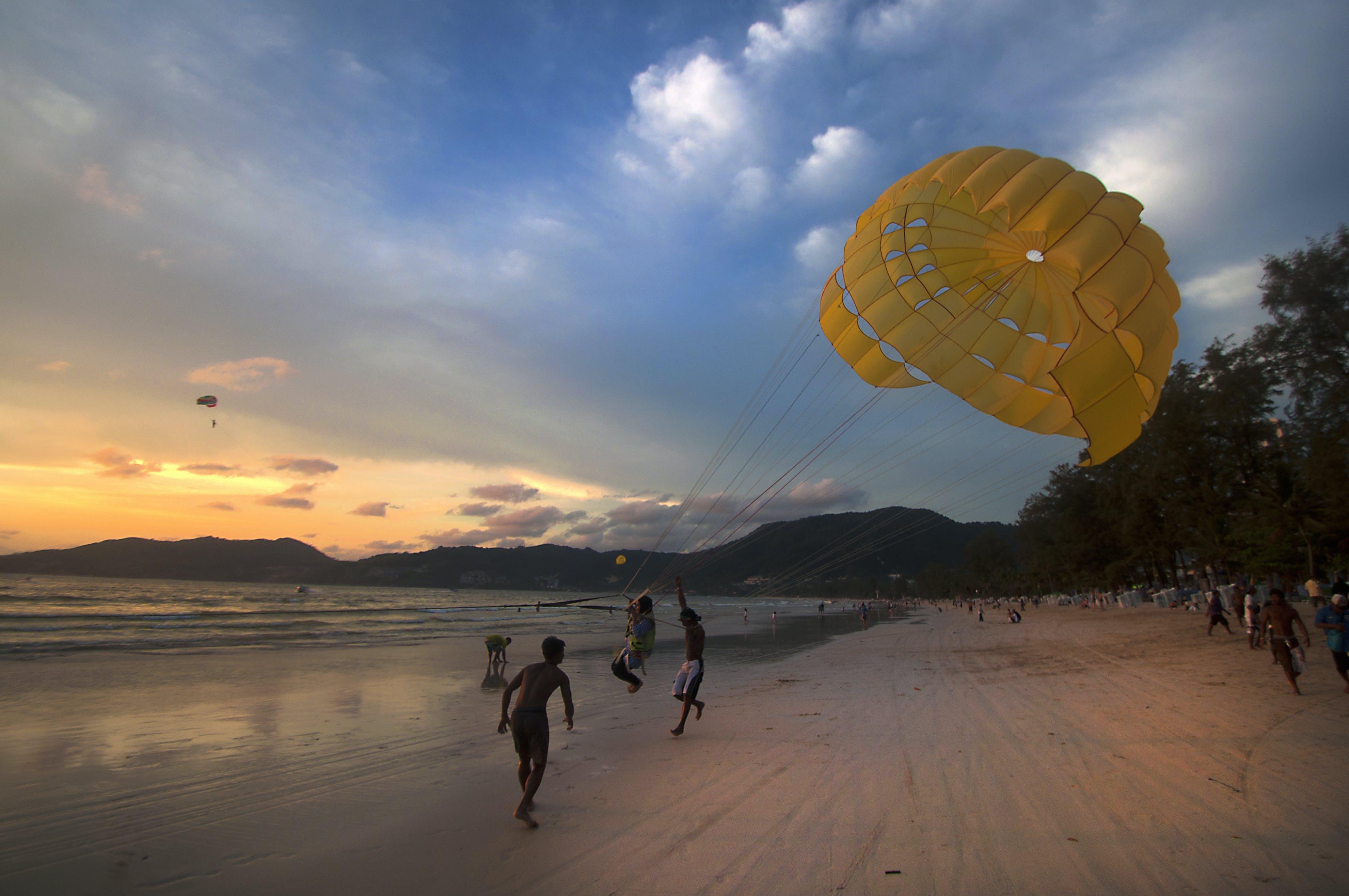 Free stock photo of beach, para sailing, parachute, parasail
