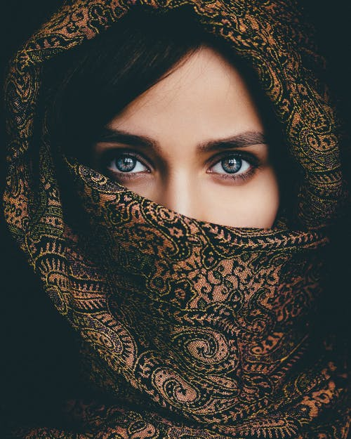 Woman in Black and Brown Hijab