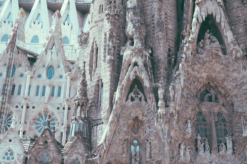 Gothic styled catholic cathedral with sculptures and ornamental details