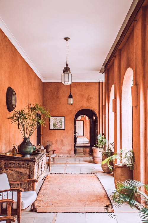 Stylish interior of spacious mansion porch in rustic style with arched doorways and big potted plants on sunny day