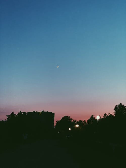 Scenic late evening sky with luminous moon over silhouettes of town trees and houses