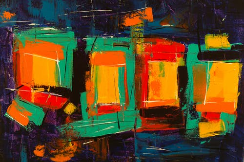 Orange Blue and Green Abstract Painting