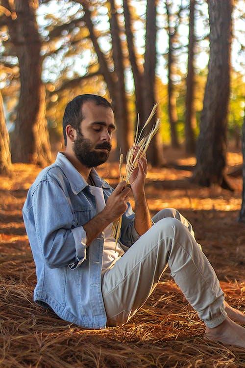 Man in Blue Dress Shirt Sitting on Brown Dried Grass