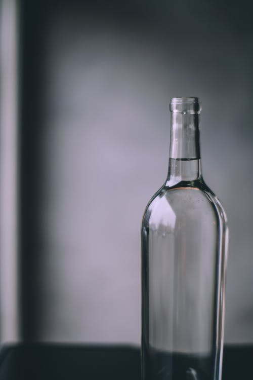 Glass bottle with clear water