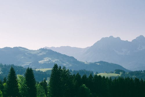 Mountains with green trees in valley