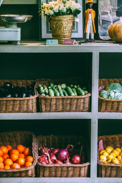 Assorted fruits and vegetables on market rack