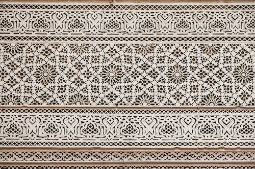 Carved ornament in wooden panel
