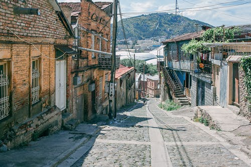 Narrow paved road in town