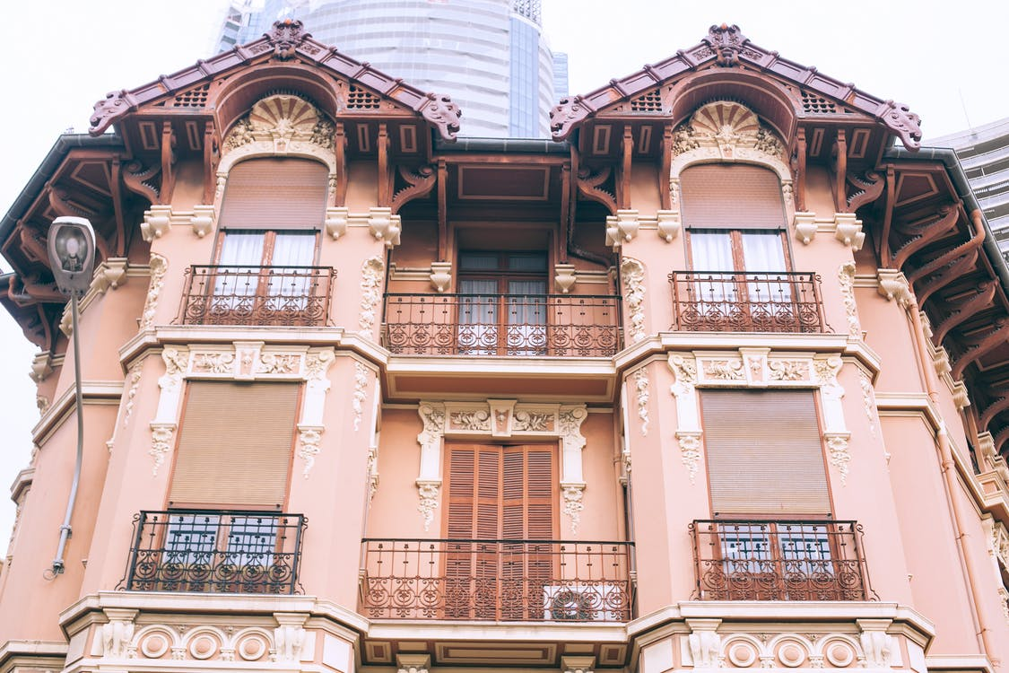 Facade of modern residential house