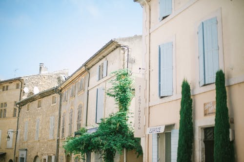 Old stone city houses in summer