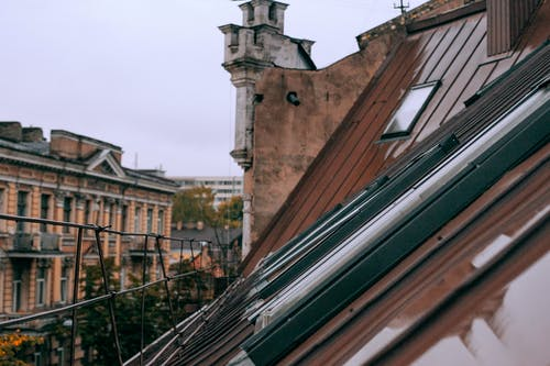 Roof of residential building in town