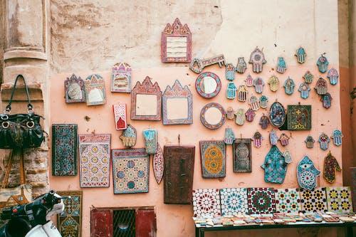 Traditional oriental decorative souvenirs presented in local market