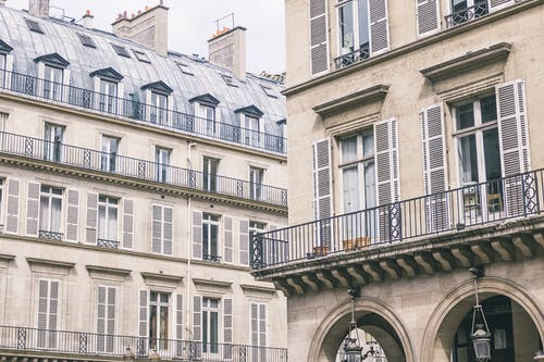Facade of contemporary hotel and residential house in Paris