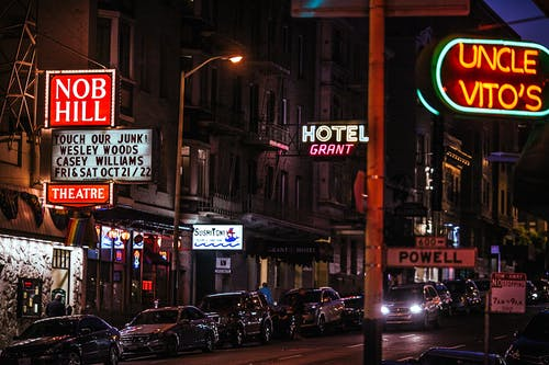 Street of city with signages in night