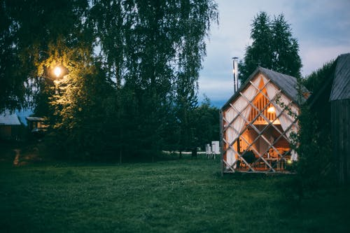 Small wooden house in countryside