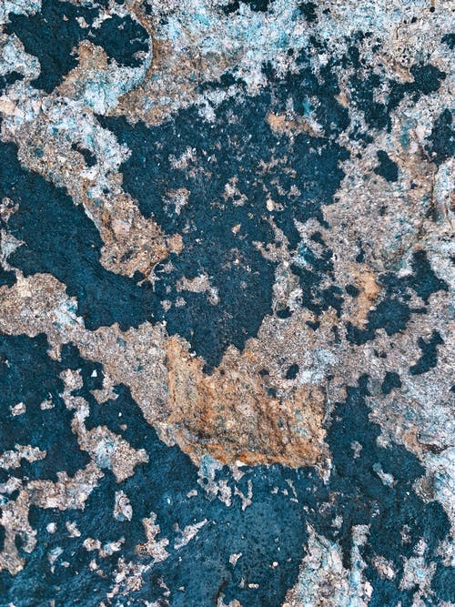 From above of rough rocky textured surface on wet seashore in summer day