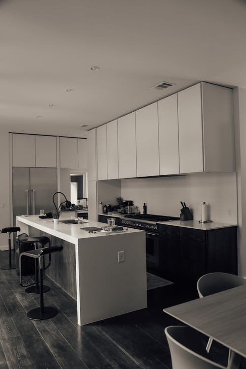 Modern furniture in kitchen in cozy flat