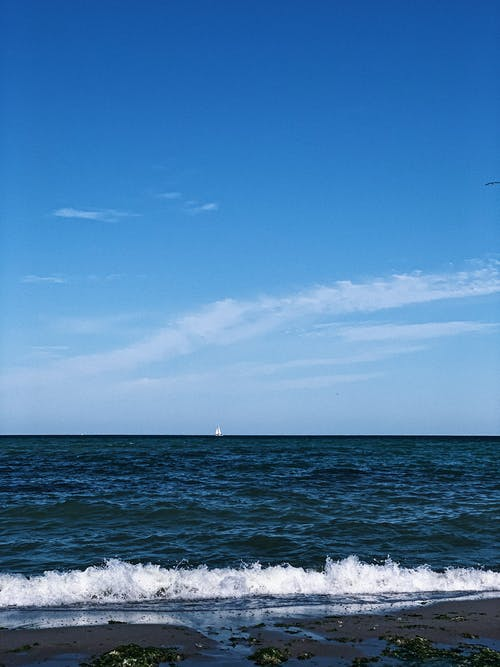 Waving endless ocean near sandy shore