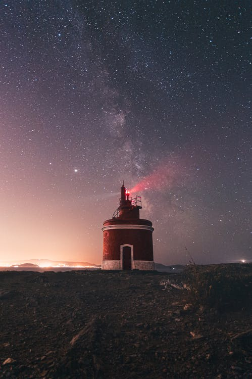 Lighthouse glowing on starry sky