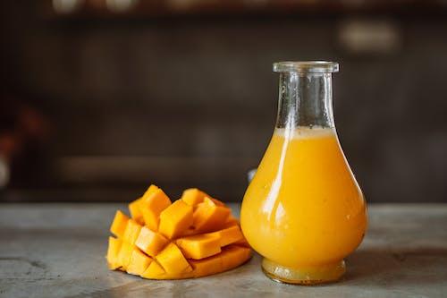 Mango Juice in Clear Glass Bottle