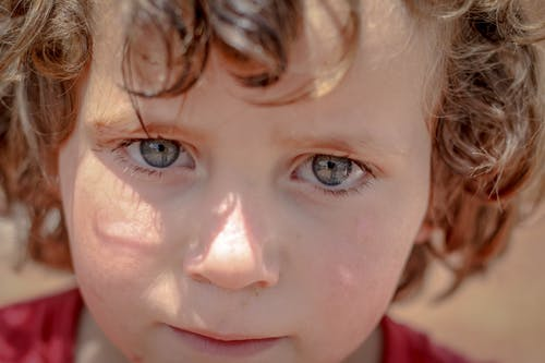 From above headshot of adorable little kid with curly hair and gray eyes looking at camera while standing in sunlight