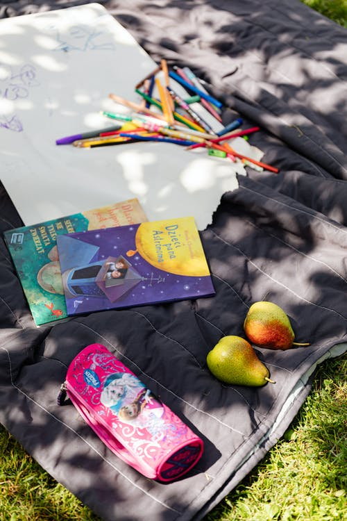 Books and Colored Pens on Purple Blanket
