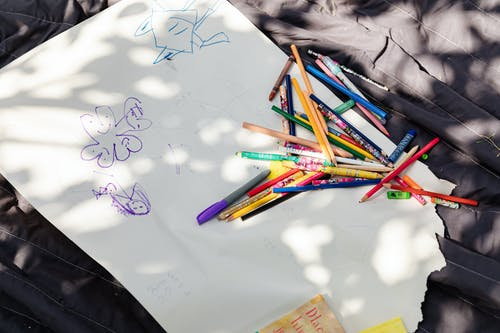 Coloring Materials on White Paper