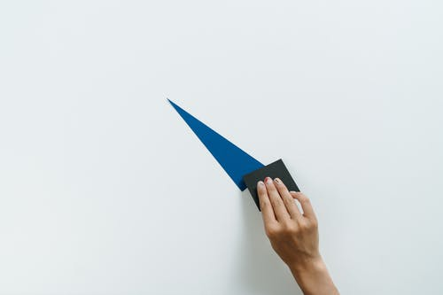 Person Holding Blue and White Paper