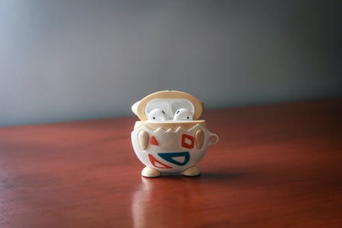 White and Blue Ceramic Owl Figurine