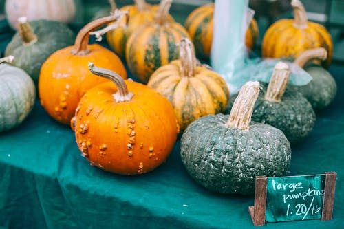Colorful raw pumpkins with pedicels on green cloth with price tag in local bazaar in daytime