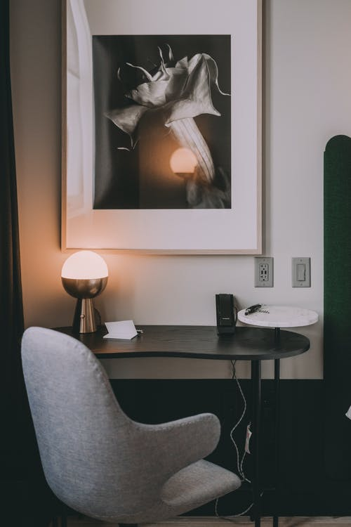 Black and White Table Lamp on Brown Wooden Table