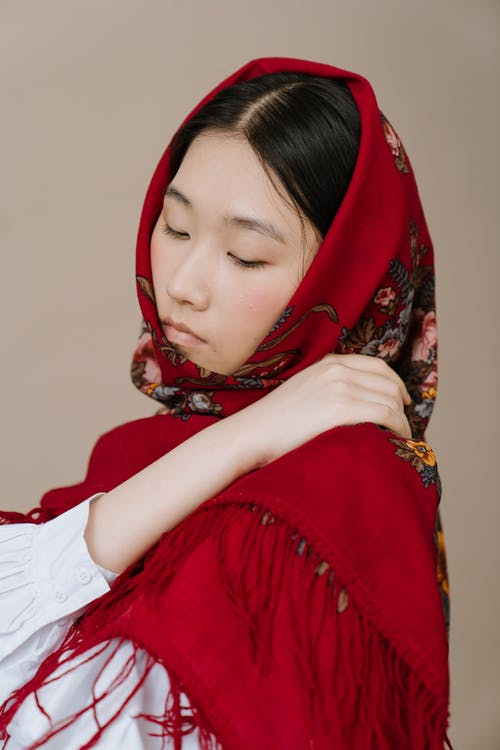 Woman in Red and White Hijab