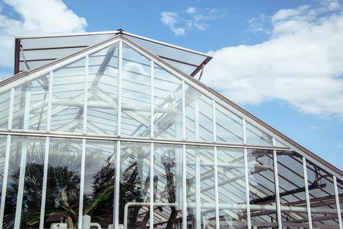 White Metal Frame Glass Roof