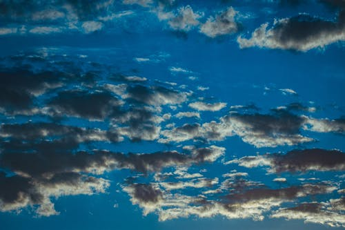 Low angle of colorful stratocumulus clouds floating in blue sky in sunny day