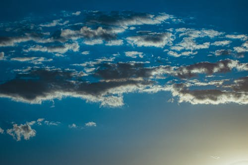 From below of grey stratocumulus clouds floating in blue sky and illuminated by bright sun