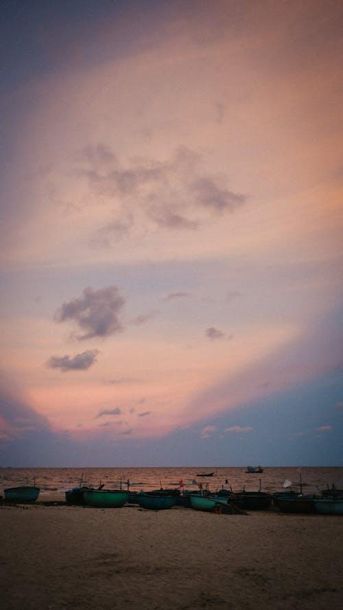 Foto profissional grátis de barco, bote, céu, céu rosa