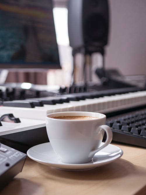 Free stock photo of coffee, computer, cup, desk