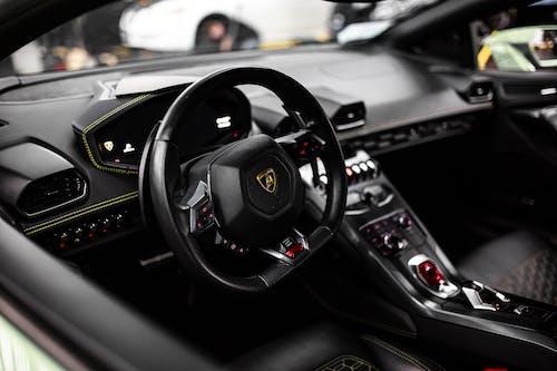 Black Steering Wheel in Tilt Shift Lens