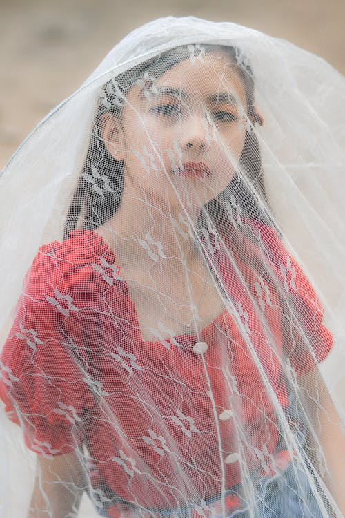 Ethnic girl wearing translucent veil and dress