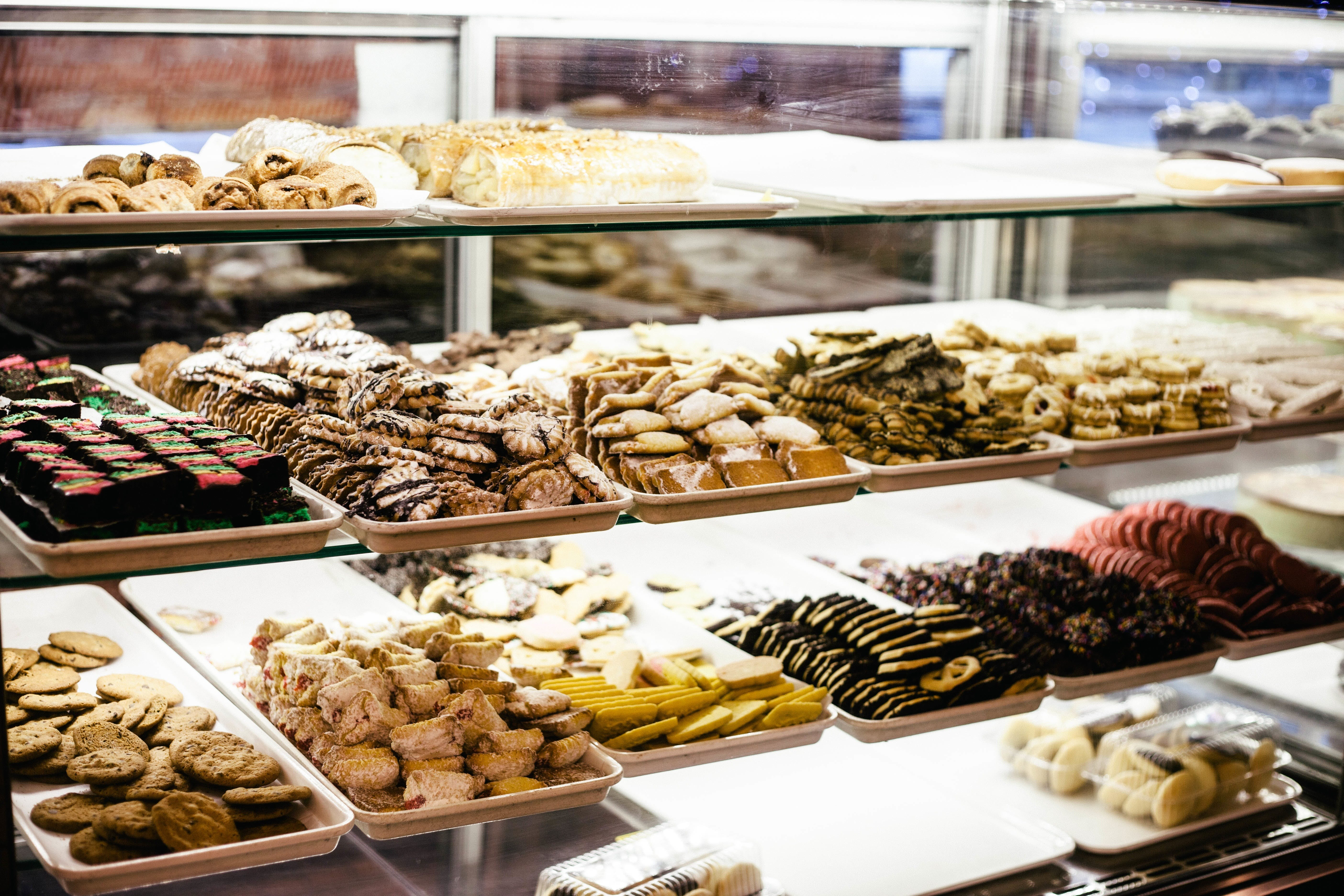 Pastries on Clear Glass Cabinet