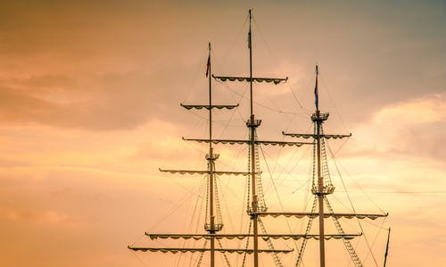 Free stock photo of boat, evening sky, gold, sailyard
