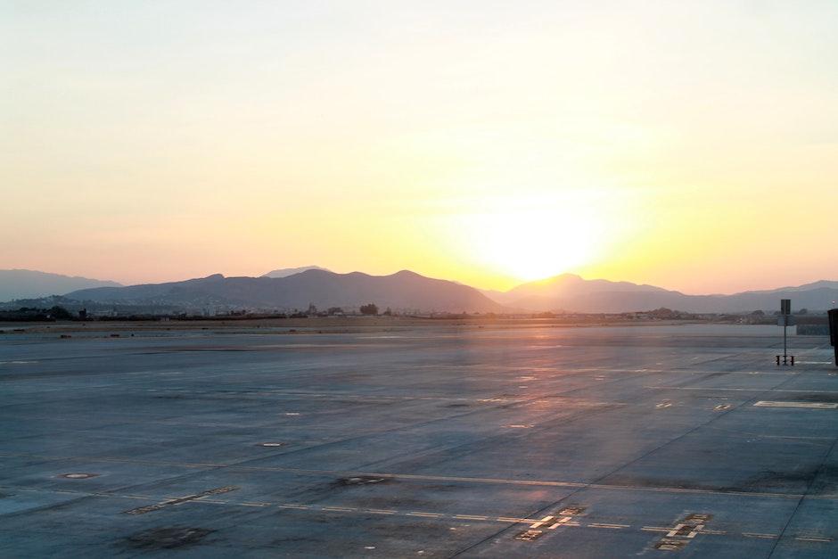 airport, dawn, dust